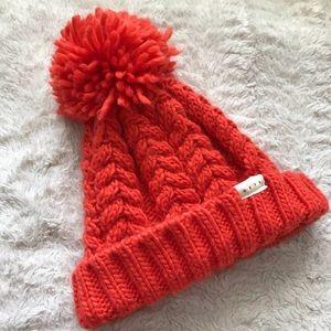 NEFF orange winter hat with pom pom